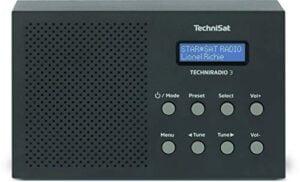 TechniSat TechniRadio 3 DAB Radio (DAB+, UKW, portabel, Radiowecker, Blockdesign) schwarz