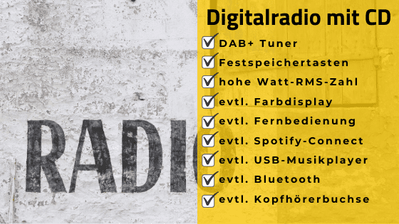 Digitalradio mit CD Checkliste